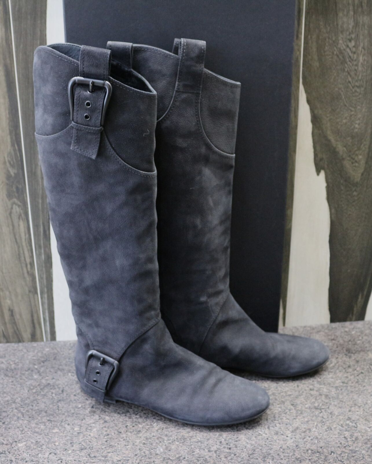 WORN ONCE Giuseppe ZANOTTI PULL ON BUCK LEATHER TALL KNEE HIGH BOOTS Shoes 39.5