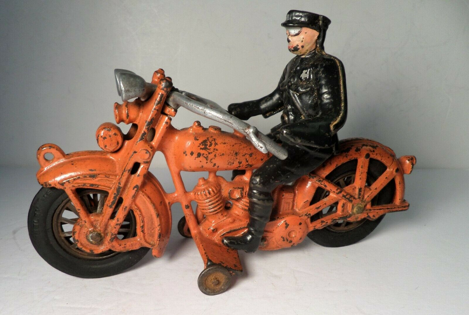 Década de 1930 Hubley Harley Davidson Solo Naranja Motocicleta con Rider 9