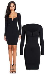 3c0dd6d4b1 Image is loading Black-Low-Plunge-Neckline-Dress-Size-12