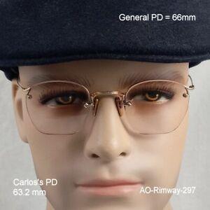 American Optical Rimway Crossley 12K Gold Fill True Antique Eyeglasses & Case