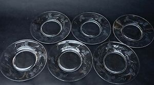 Set-of-Six-6-Vintage-Cut-Etched-Glass-Lead-Crystal-Plate-Dishes-8-034