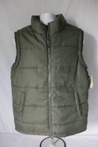NEW-Mens-Puffer-Vest-Size-Medium-Hunter-Green-Fall-Winter-Coat-Zip-Jacket-Pocket