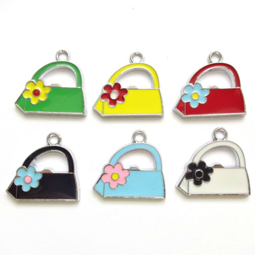 6 Assorted Colours Enamel 22mm Hand Bag Charms