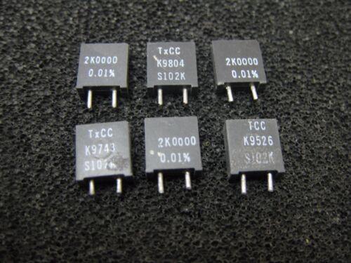 1x 2K0000 TCC TxCC S102K Series Metal Foil Resistors 0.01/% 2KΩ