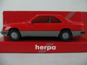 Herpa-2064-Mercedes-Benz-300-CE-Coupe-1987-89-in-blassrot-grau-1-87-H0-NEU-OVP