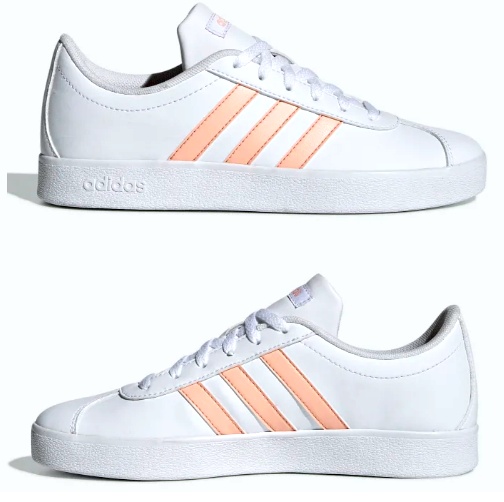 adidas Kids VL Court 2.0 Size 12k Athletic Gym Shoes Girls White/glow Pink