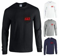 Delta Kappa Epsilon Fraternity Long Sleeve Pocket Shirt Red Dke Letters -