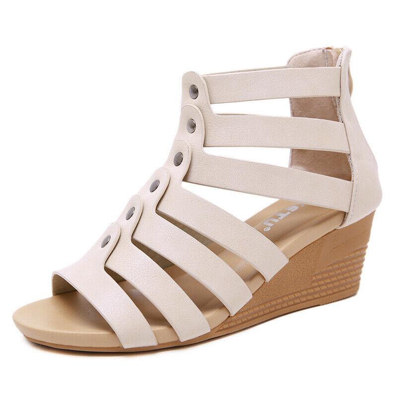 Sandali tacco basso eleganti comodi zeppa 4.5 cm simil pelle bianco 1049