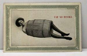 Woman-in-A-Barrel-Photo-USE-NO-HOOKS-1911-Douglas-North-Dakota-Postcard-D16