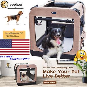 VEEHOO-Folding-Soft-Dog-Crate-Pet-Kennel-3-Door-Playpen-Portable-Sided-Dog-Crate