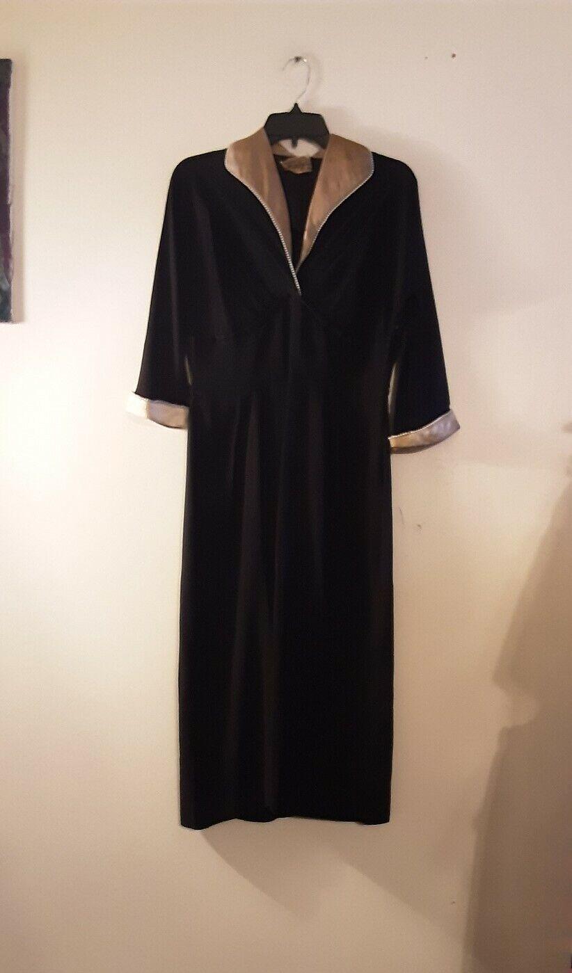 1930/'s 1940/'s LITTLE BLACK DRESS with cute yoke S E5
