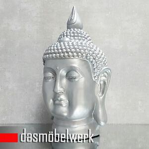 Buddha-Kopf-Gross-Figur-Feng-Shui-Asia-Statue-Garten-Bad-Deko-Skulptur-082-Silber