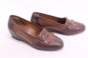 C2156-Dr-Genenger-Slipper-Loafer-Schuhe-Leder-braun-Gr-38-5-G-Fransenlasche