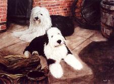 "OLD ENGLISH SHEEPDOG DULUX DOG FINE ART LIMITED EDITION PRINT ""Courtyard Scene"""