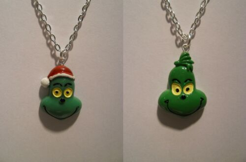"""Boys Girls Santa Hat Christmas Grinch Pendant With 18/"""" Silver Plated Necklace"""