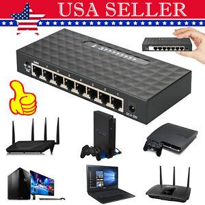 8Port Gigabit Ethernet 10/100/1000Mbps Switch Lan Hub Adapter for Router & Modem