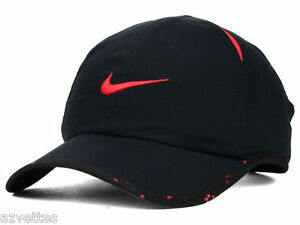 Black Red NIKE Men-Women s Tennis Hat Golf DRI-FIT Runner Cap Featherlight 36fcde2d0820