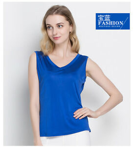 Women-039-s-50-Silk-Knitted-Stretchy-V-Neck-Sleeveless-T-Shirts-Vest-top-HY103
