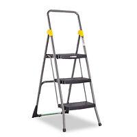 Cosco Commercial 3-step Folding Stool 300lb Cap 20 1/2w X 32 5/8d X 52 1/8h Gray