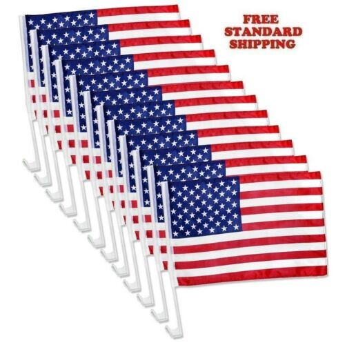 24 Pack Lot NEW USA Flags Car Window Clip On Fan Banners Car Flag US Seller