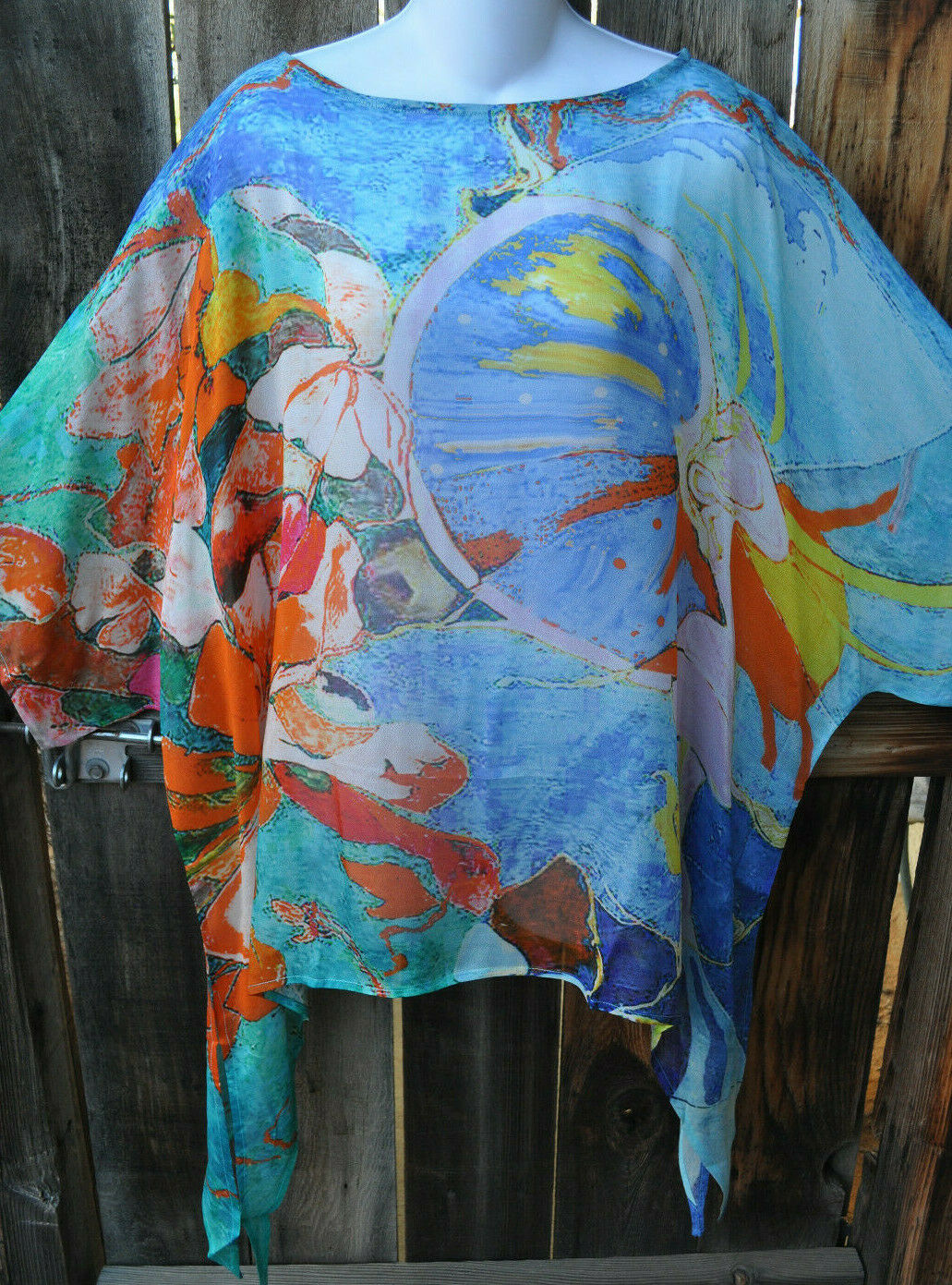 DILEMMA HAND PAINTED SELIGMAN INSPIrot ART SILK ART TO WEAR PONCHO TUNIC,OS+