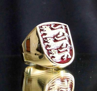 BRONZE SIGNET RING THREE 3 LIONS COAT OF ARMS EMBLEM SEAL DARK RED ANY SIZE