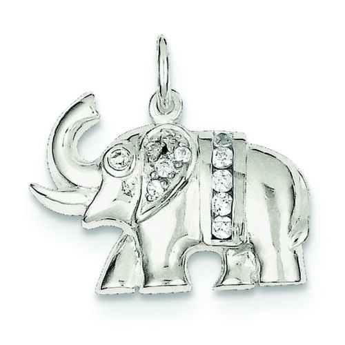 .925 Sterling Silver CZ Elephant Charm Pendant MSRP $72