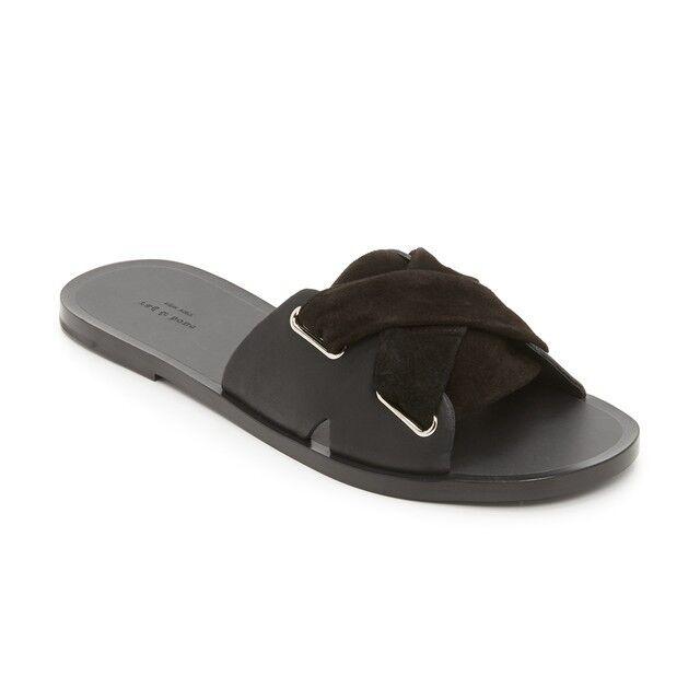 Rag & Bone Nora Slide Black Suede Flat Slide Sandal Sandal Sandal shoes 36 6 EUC Corset Slip On 1b09b7