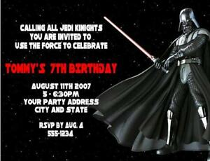Image Is Loading Star Wars Darth Vader Birthday Party Invitations Personalized