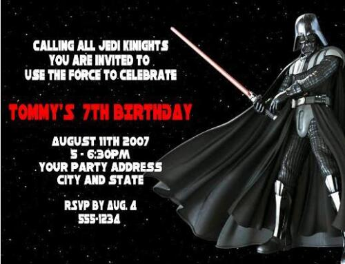 Star Wars Darth Vader Birthday Party Invitations Personalized Custom