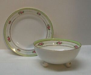 Footed-Bowl-and-Plate-with-Pink-Flowers-Green-and-Gold-Trim-Nippon-Vintage