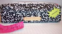 Betsey Johnson Composition Black Pencil Case Ruler Zip Closure