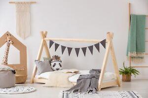 Letto singolo BAMBINO per bambini Letto casa legno naturale TP | eBay