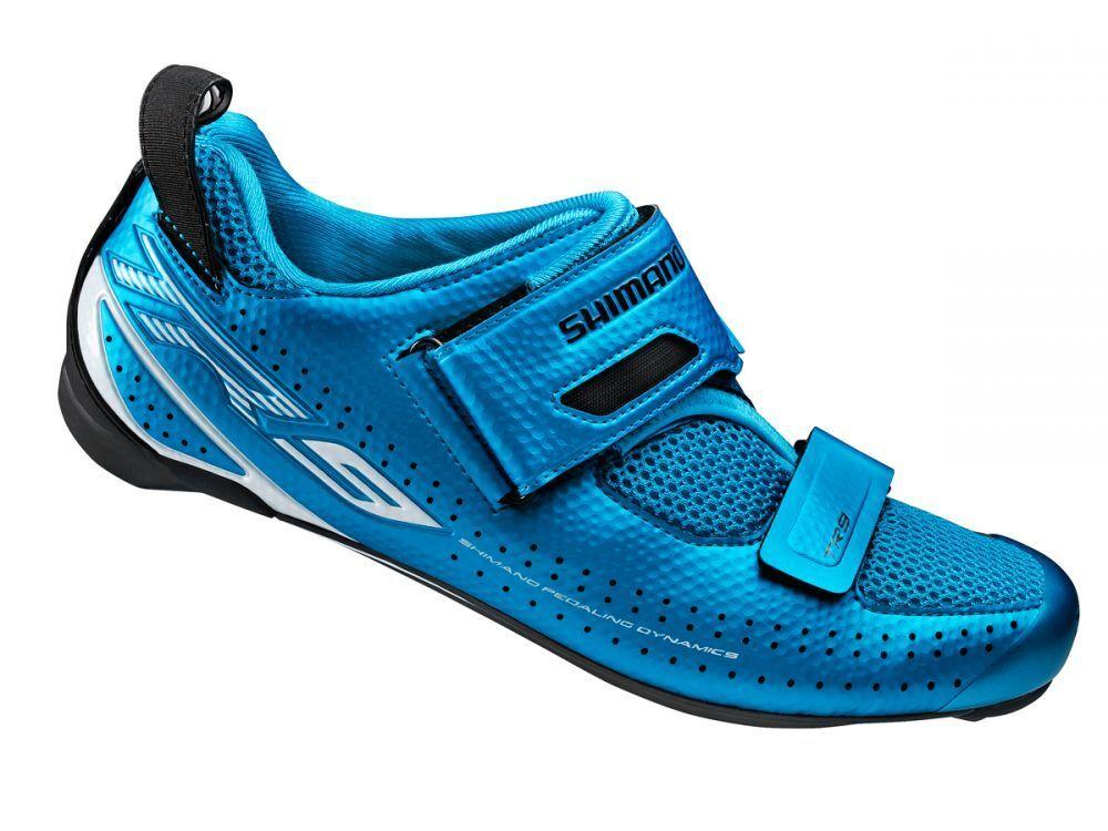 Shimano SH-TR9-B Triathlon Elite Carbon Cycling Road Bike Racing shoes Men bluee