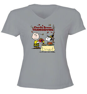 Charlie-Brown-Snoopy-Thanksgiving-Classic-Juniors-Women-Tee-T-Shirt-Gift-Shirts