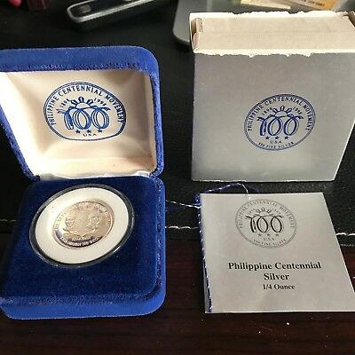 PHILIPPINES 1998 CENTENNIAL COMMEMORATIVE SILVER WITH BOX /& CERTIFICAT 1//4 OZ