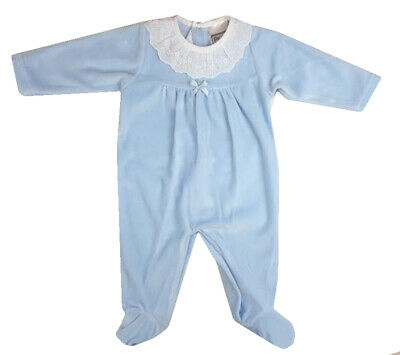 NEWBORN BLUE ROMPERS SLEEPSUIT SPANISH STYLE LACE COLLAR BOYS 0-3 MONTHS