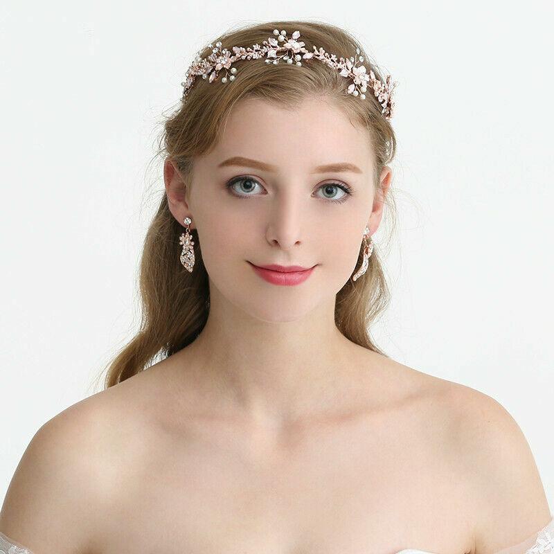 Rose Gold Diamante Crystal Flower Pearl Wedding Bridal Tiara Hair Accessories