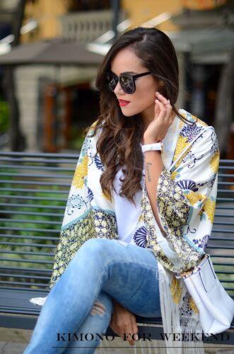 Jacke Printed Floral S Fransen M Taglia Kaftan Kimono Blouson Bluse Frange Zara wHRUqOYO