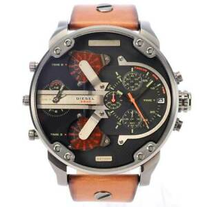 Brand-New-Diesel-DZ7332-Black-Dial-Brown-Leather-Gunmetal-Men-039-s-Wrist-Watch