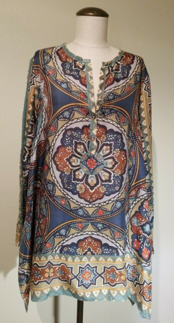 NWT Johnny Was Rosanna 100/% Silk BOXY Blouse Top Tunic S M L XL XXL Scarf print