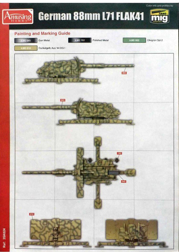 Amusing Hobby 1//35 German 8.8cm L//71 Flak 41 35A024