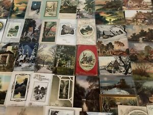 Big-Lot-of-60-Vintage-Postcards-with-Cottage-amp-Various-Scenes-Scenic-a151