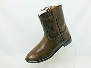 Durango-Brown-Leather-Roper-Cowboy-Western-Boots-Youth-Size-3-M