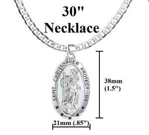 Men-039-s-Women-039-s-925-Sterling-Silver-30-034-Oval-Saint-Christopher-Chain-Link-Necklace