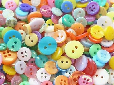 200pcs Round Buttons Assorted Colors 7-12mm Sewing B40