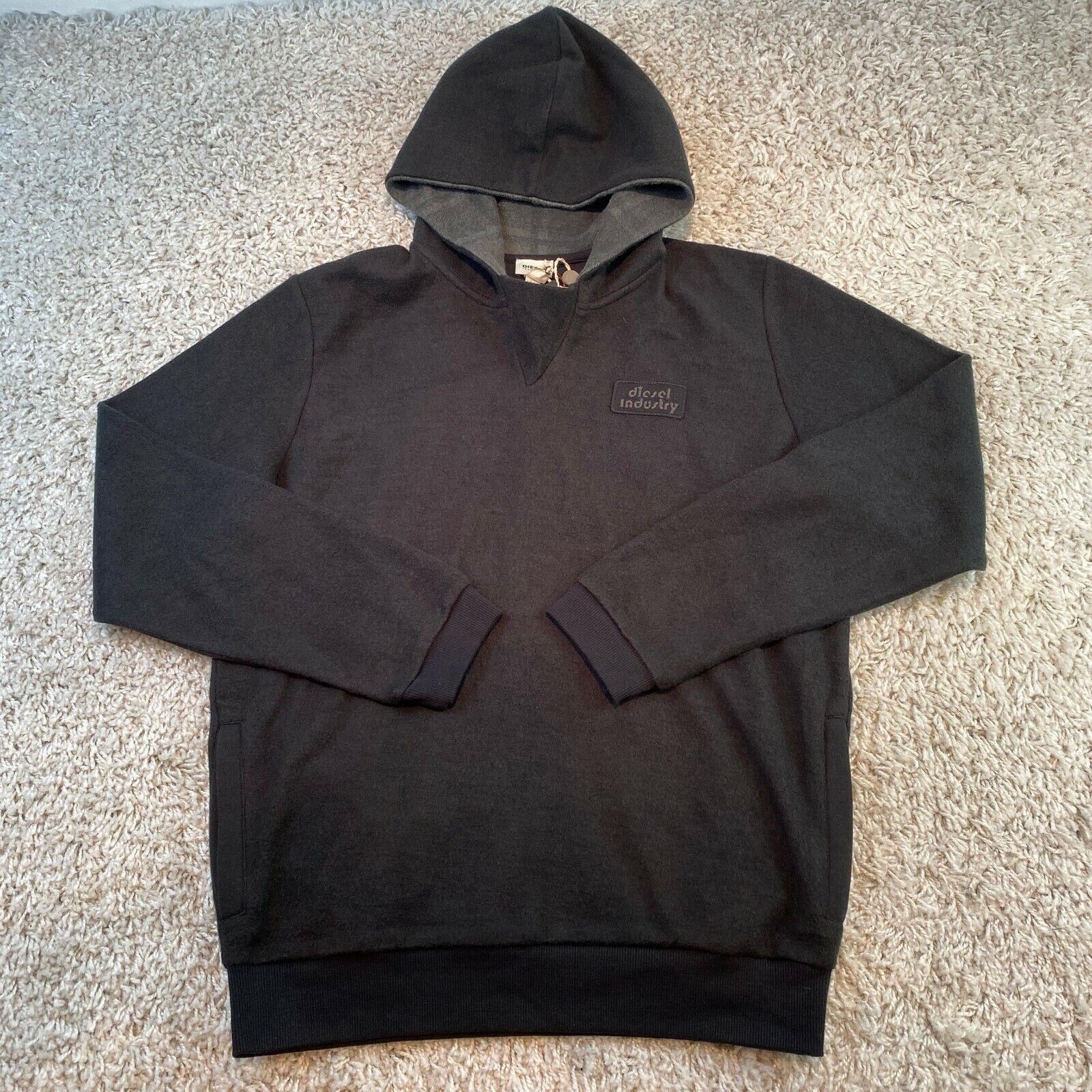 DIESEL Mens Hoodie Sweatshirt XL Black Embroidered Logo Hoody Pullover