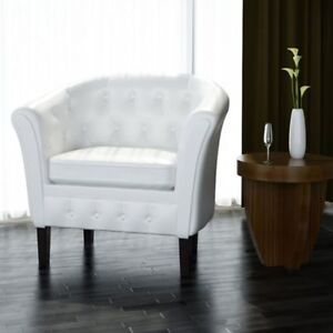 White-Artificial-Leather-Tub-Barrel-Design-Club-Chair-w-Tufted-Button-Accents