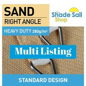 Right Angle Triangle 90º Shade Sails Sand Sun Shades 280gsm Triangle