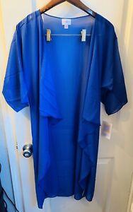 Nuovo-con-etichette-lularoe-M-Solid-Tinta-Unita-Blu-Nero-Shirley-Kimono-Coverup-Overlay-CAROLINE